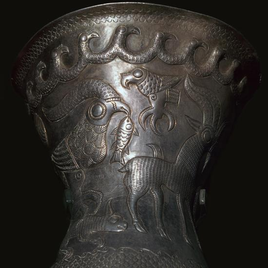Silver goblet from the Agighiol Treasure, 4th century BC. Artist: Unknown-Unknown-Giclee Print
