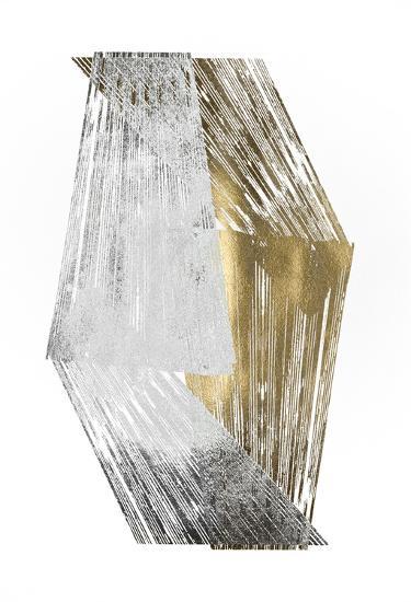 Silver & Gold Foil Stripes-Jennifer Goldberger-Art Print