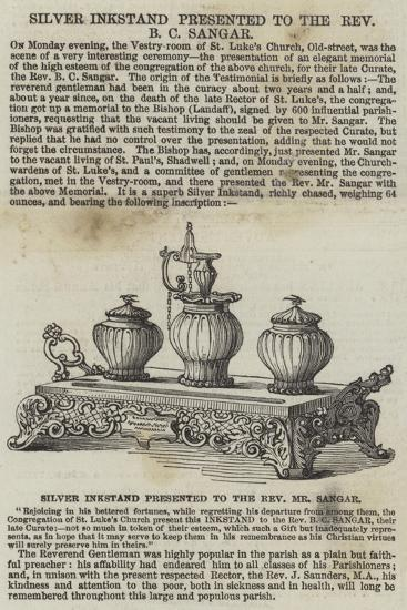 Silver Inkstand Presented to the Reverend B C Sangar--Giclee Print