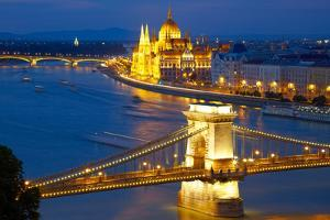 Budapest, Hungary. Chain Bridge and the Parliament by silver-john