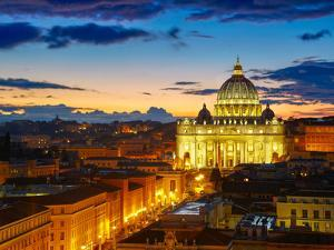 Rome, Italy. St. Peter's Cathedral in Sunset Lights by silver-john