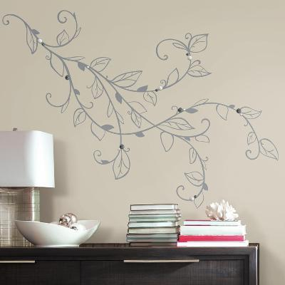 Silver Leaf Giant Peel and Stick Wall Decals with Pearls--Wall Decal