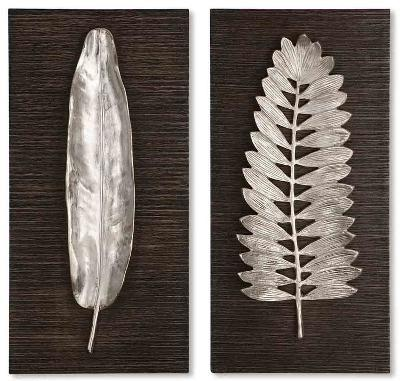 Silver Leaves Wall Art Set--Home Accessories