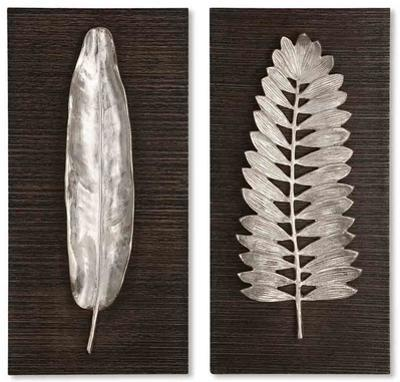 Silver Leaves Wall Art Set