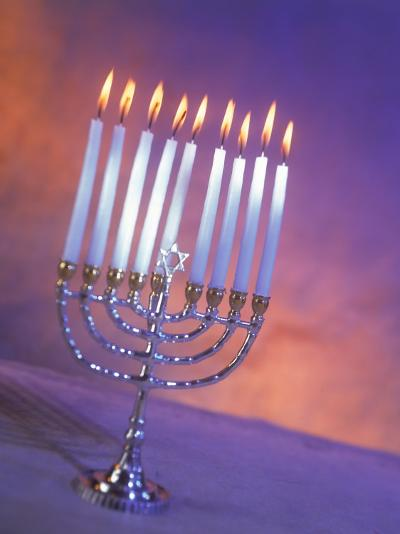 Silver Menorah with White Lighted Candles-Ellen Kamp-Photographic Print
