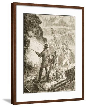 Silver Mining Operation, Nevada, C.1870, from 'American Pictures', Published by the Religious…--Framed Giclee Print