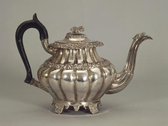 Silver Neapolitan Teapot with Panel Shaped Stands--Giclee Print