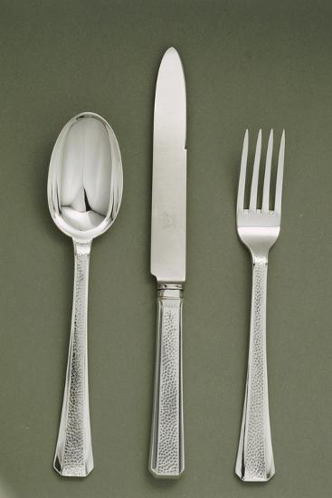 Silver Presentation Cutlery Spoon, Knife and Fork--Giclee Print