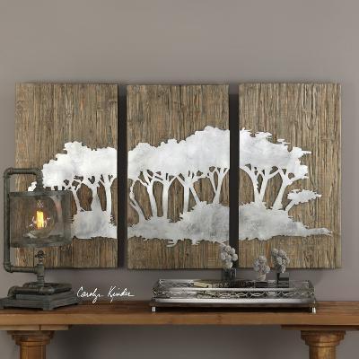 Silver Safari Wall Art Triptych--Home Accessories