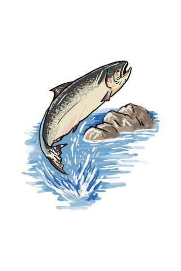 Silver Salmon - Icon-Lantern Press-Art Print