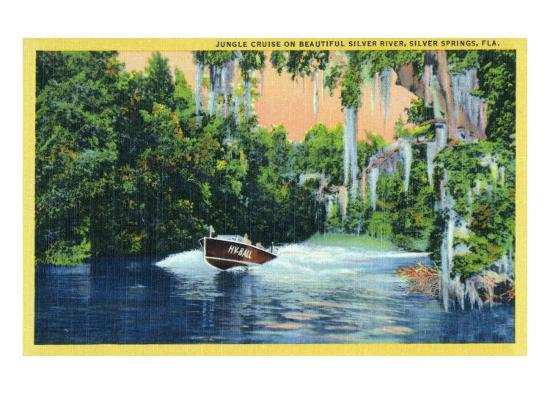 Silver Springs, Florida, View of a Speedboat Cruising the Silver River and Jungle-Lantern Press-Art Print