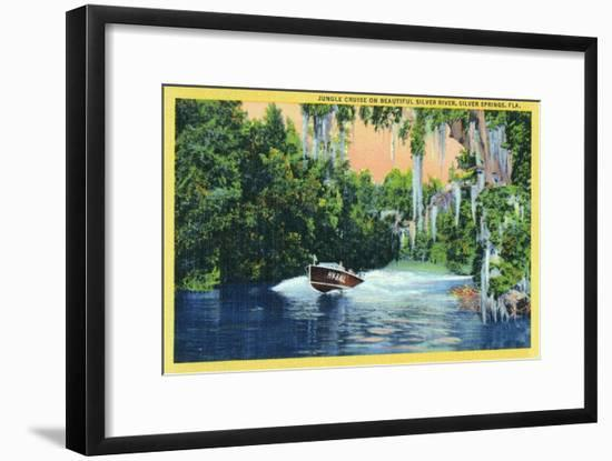 Silver Springs, Florida, View of a Speedboat Cruising the Silver River and Jungle-Lantern Press-Framed Art Print