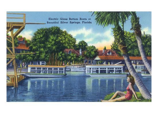 Silver Springs, Florida - View of Electric Glass Bottom Boats-Lantern Press-Art Print