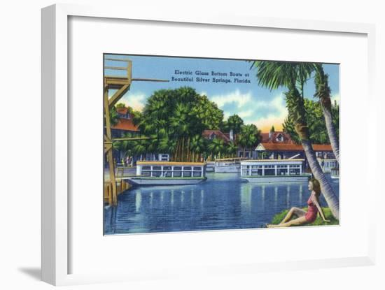 Silver Springs, Florida - View of Electric Glass Bottom Boats-Lantern Press-Framed Art Print