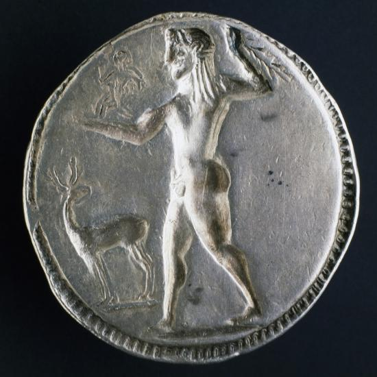 Silver Stater from Caulonia Depicting Male Nude, Verso, Greek Coins--Giclee Print