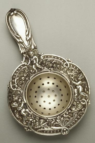 Silver Strainer with Cherubs, Chased and Embossed, 1880--Giclee Print