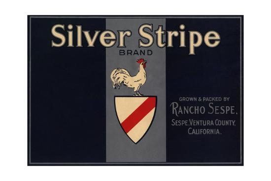 Silver Stripe Brand - Sespe, California - Citrus Crate Label-Lantern Press-Art Print