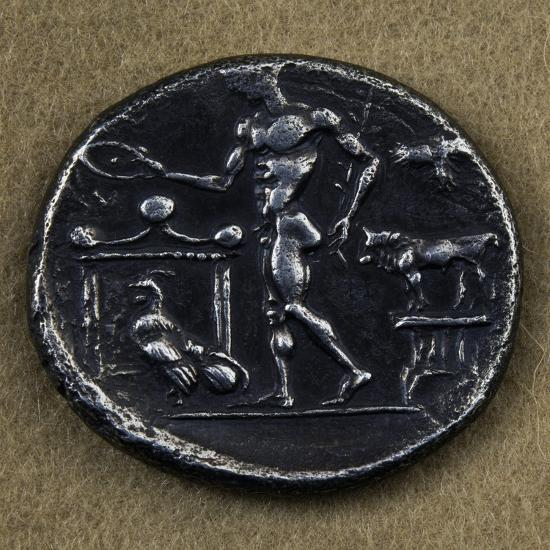 Silver Tetradrachm Depicting Young Man Making Offering in Front of Altar--Giclee Print