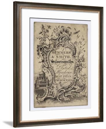Silversmiths, Summers and Smith, Trade Card--Framed Giclee Print