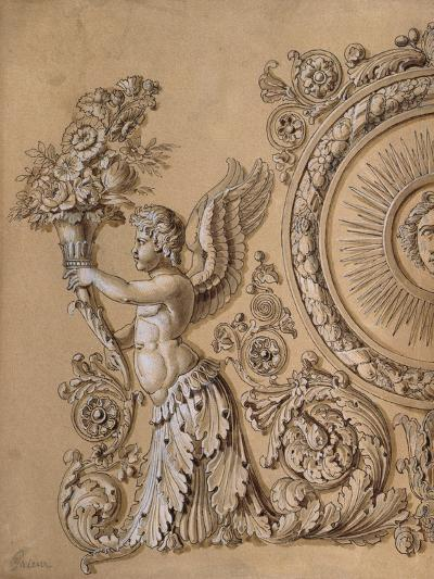 Silverwork Design Depicting a Cherub with Acanthus Leaves- Prieur-Giclee Print