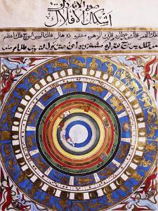 Celestial Map or Macrocosm from Ptolemaic Model, Miniature from Zubdat-Al Tawarikh by Silvestro Lega