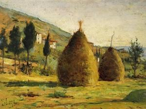 Haystacks in Sun, 1890 by Silvestro Lega