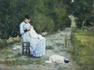 In Garden by Silvestro Lega