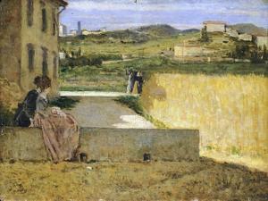 In Shadow of Villa by Silvestro Lega