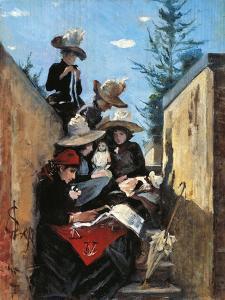Mrs. Clementina Fiorini with Her Daughters in Poggio Piano, 1887 by Silvestro Lega
