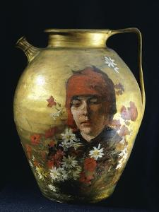 Pitcher with Figure of Woman by Silvestro Lega