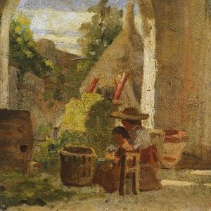 Rustic Loggia, Country Study Triptych, 1861 by Silvestro Lega