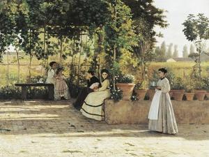 The Pergola, 1868 by Silvestro Lega