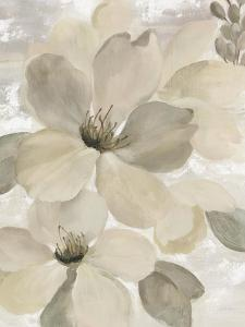 White On White Floral II Crop Neutral by Silvia Vassileva