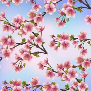 Background Pattern with Sakura Tree by silvionka