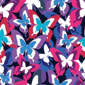 Beautiful Seamless Pattern with Colorful Butterflies by silvionka