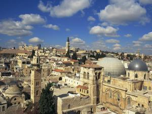 Church of the Holy Sepulchre in the Foreground and the Old City of Jerusalem, Israel, Middle East by Simanor Eitan