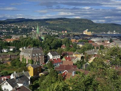 City Skyline with Cathedral and Mollenberg, Trondheim, Norway, Scandinavia, Europe
