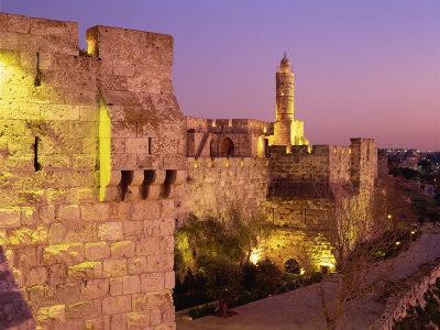 Walls and the Citadel of David in the Old City of Jerusalem, Israel, Middle East