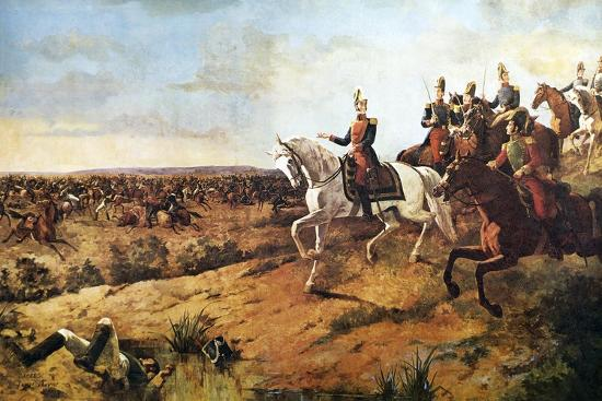 Simon Bolivar Heading His Army at Battle of Junin, August 5, 1824--Giclee Print