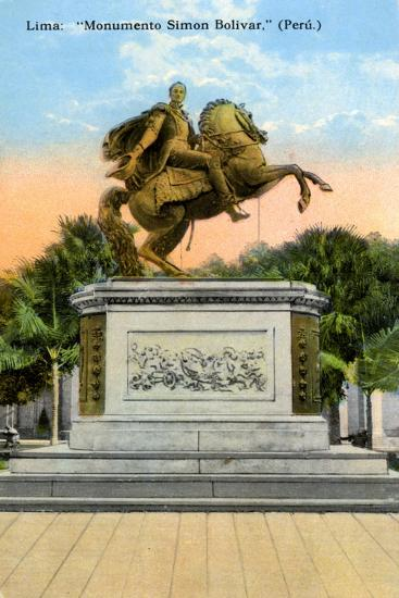 Simon Bolivar Monument, Lima, Peru, Early 20th Century--Giclee Print