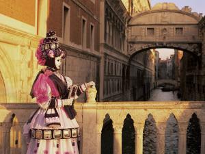 Carnival Costume and the Bridge of Sighs, Venice, Veneto, Italy by Simon Harris