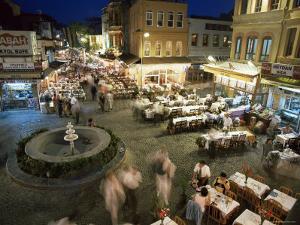 Fish Restaurants on the Pavement, Istanbul, Turkey by Simon Harris