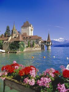 Lake Thun (Thunersee) and Oberhofen Castle, Bernese Oberland, Switzerland, Europe by Simon Harris