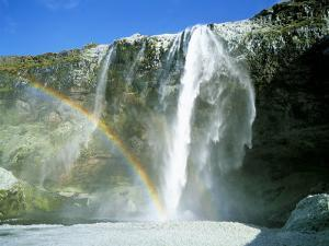 Seljalandsfoss Waterfall and Rainbow, Southern Area, Iceland, Polar Regions by Simon Harris