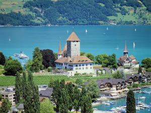 View of Spiez Over Lake Thun, Swiss Lakes, Switzerland by Simon Harris