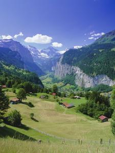 View Over Lauterbrunnen from Wengen, Bernese Oberland, Swiss Alps, Switzerland, Europe by Simon Harris