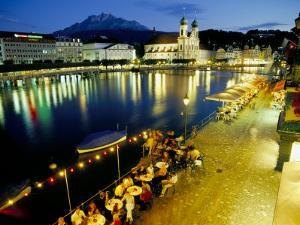Waterfront Pavement Cafes, Lucerne, Switzerland by Simon Harris