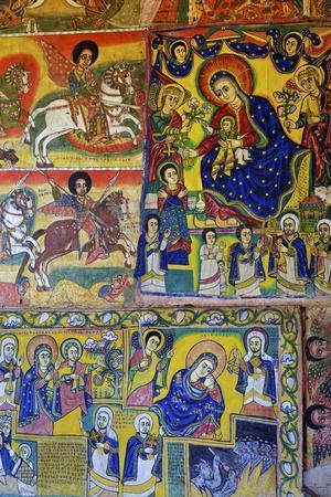 Murals in Christian Monastery and Church of Azuwa Maryam, Zege Peninsula, Lake Tana, Ethiopia