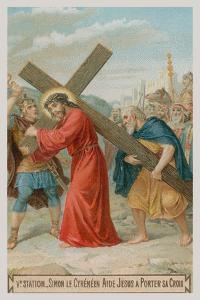 Simon of Cyrene Helps Jesus to Carry the Cross. the Fifth Station of the Cross