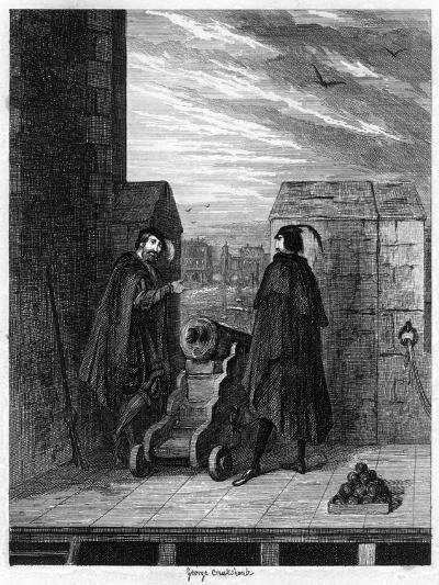Simon Renard and Winwike the Warden on the Roof of the White Tower, 1553-George Cruikshank-Giclee Print